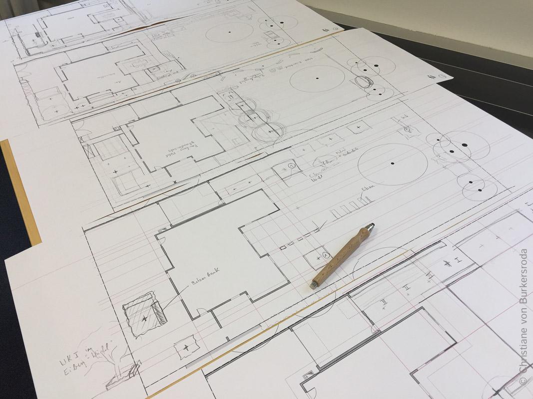 Vorentwurf: Skizzen zum Layout eines Gartens.