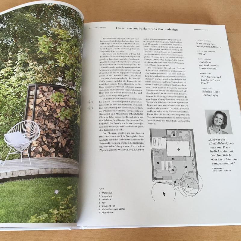 Buchseite Gärten des Jahres 2020 für den Anerkennungspreis.